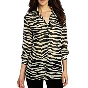 7FAM zebra print semi-sheer blouse